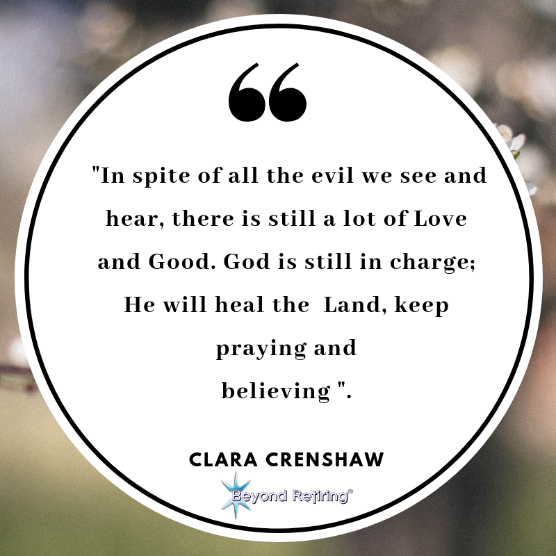 Inspite of all the evil we see and hear - Today's Word - Clara Crenshaw